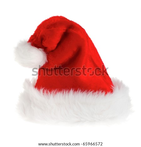 Fluffy Santa hat isolated on pure white background