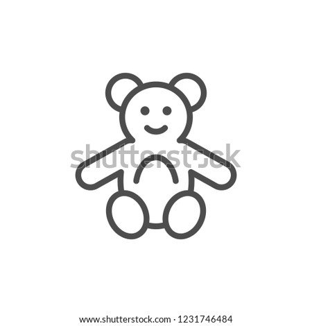 Fluffy toy line icon isolated on white