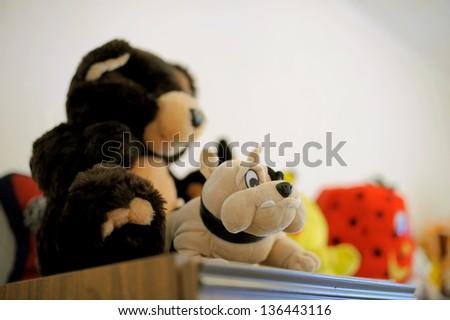 fluffy toys on wardrobe in room