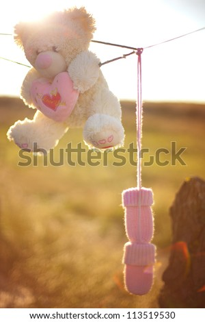 Fluffy white bear holding a heart, baby pink wool gloves hanging on a rope. Against the background of yellowed grass and blue sky. Early autumn.