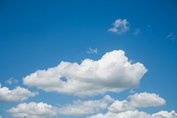 Fluffy white cloud formation in a beautiful blue sky