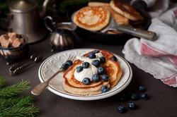 Fluffy Wholemeal Pancakes with Mascarpone and Fresh Blueberries