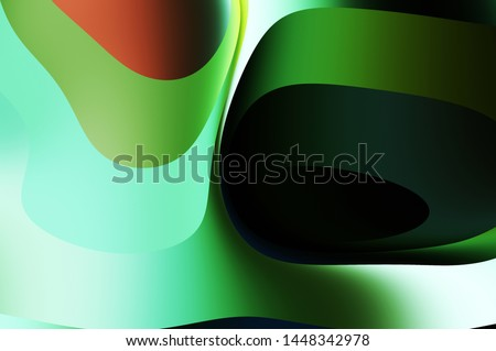 Fluid abstract background with colorful gradient. 2D illustration of modern movement. #1448342978