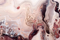 Fluid Art. Abstract marble background or texture. Waves and bubbles in natural colors with golden inclusions.