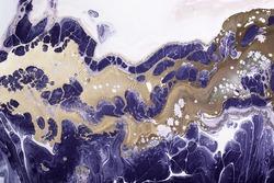 Fluid Art. Liquid Metallic bronze in abstract violet wave. Marble effect background or texture.