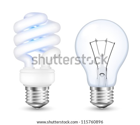 Fluorescent energy saving and incandescent light bulbs