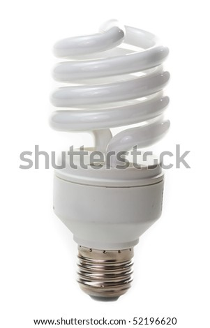 Fluorescent lamp bulb on isolated background - stock photo