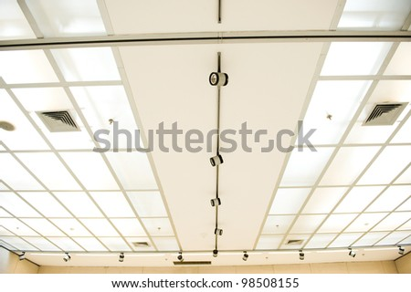 fluorescent lamp on the modern ceiling.
