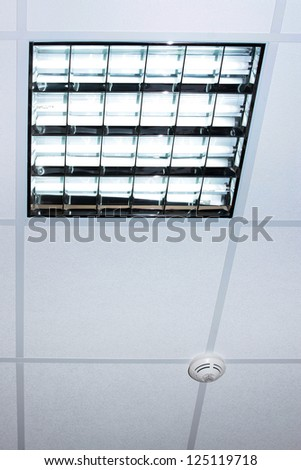 fluorescent lamp on the modern office ceiling