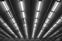Fluorescent lamps line, view of metro station ceiling