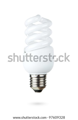 Fluorescent light bulb isolated on white background