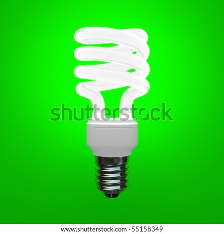 Fluorescent light bulb on green background