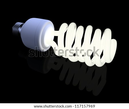 Fluorescent light bulb on the black background