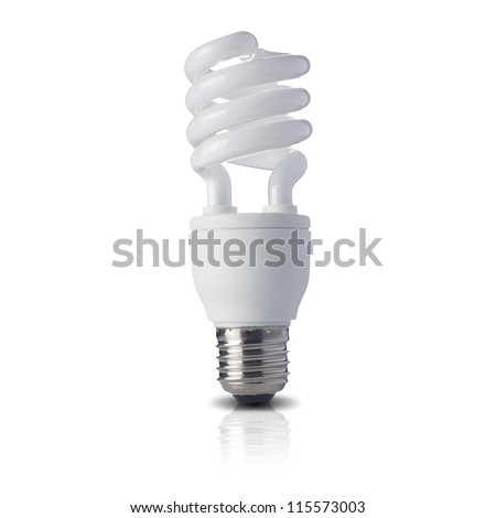 Fluorescent light bulb on white background. Concept for energy conservation