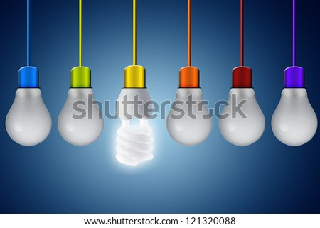 Fluorescent light bulb turn on from other traditional light bulb with colorful wire