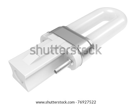 Fluorescent light tube. 3D isolated object on a white