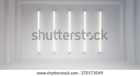 fluorescent lights and white wall background