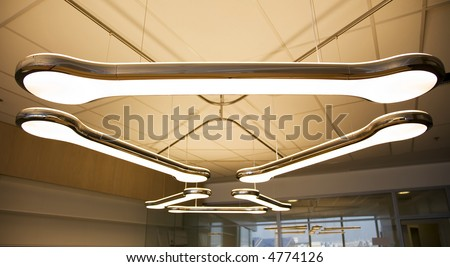 Fluorescent overhead lamp in office