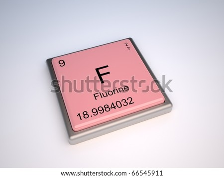 stock photo : Fluorine chemical element of periodic table with symbol F