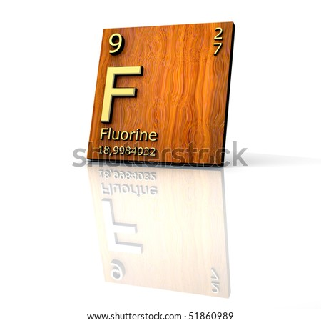 stock photo : fluorine form Periodic Table of Elements - wood board