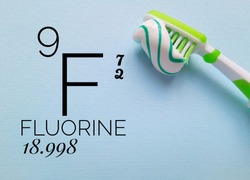 Fluorine is a chemical element of the periodic table with the symbol F and atomic number 9. The symbol F with atomic data and a brush with fluoride toothpaste.