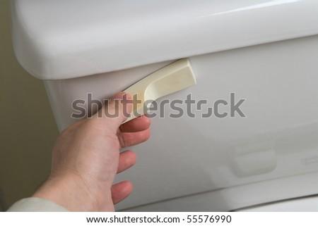 Flush Toilet close up shot