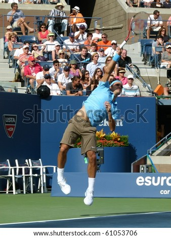 FLUSHING, NEW YORK- SEPT. 4: Roger Federer serves at the US Open at Arthur Ashe Stadium, Sept. 4, 2010, Flushing, New York.