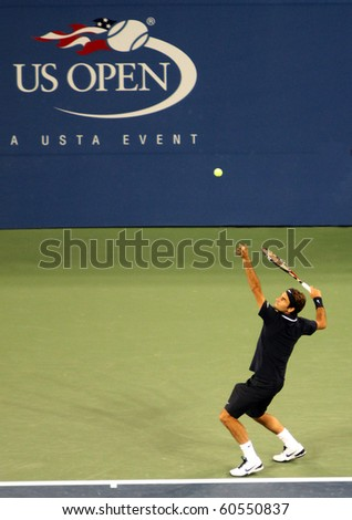 FLUSHING, NY - AUGUST 30: Number two-ranked tennis player Roger Federer plays in the 2010 US Open at Arthur Ashe Stadium at Billie Jean King National Tennis Center on August 30, 2010 in Flushing, NY. - stock photo