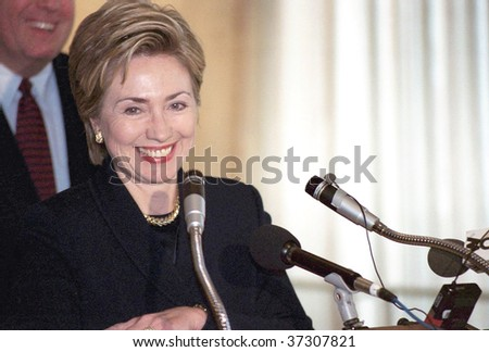 FLUSHING, NY - CIRCA 1998: Former First Lady Hillary Rodham Clinton smiles as she speaks at Electchester circa 1998 in Flushing, NY. Clinton formally announced her senate candidacy in 1999 and won.