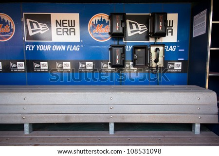 FLUSHING, NY - MAY 11:  NY Mets dugout at Citi Field Ballpark in Flushing, NYC seen on May 11, 2012.  This stadium is home to Major League Baseball team NY Mets and was opened in 2009.
