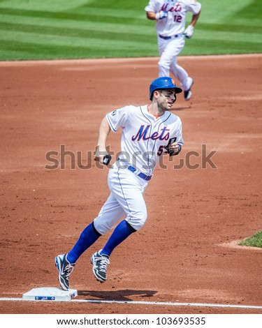 FLUSHING, NY - MAY 26: The NY Mets David Wright rounds third on his way to score in a game at Citi Field on May 26, 2012 in Flushing, NY.