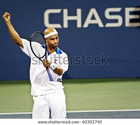 FLUSHING, NY - SEPTEMBER 2: James Blake volleys during his men's singles match at the US Open at the Billie Jean National Tennis Center on September 2, 2010 in Flushing, NY.
