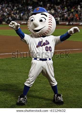FLUSHING, NY - SEPTEMBER 15: New York Mets mascot, Mr. Met, during a baseball game at Citi Field ballpark against the Pittsburgh Pirates on September 15, 2010 in Flushing, New York.