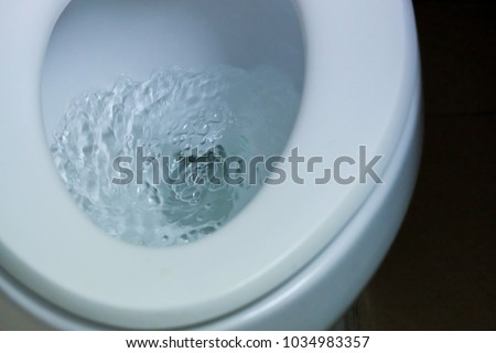 Flushing the toilet at Bathroom or Restroom.Flush white.Water flow flush toilet. concept: sanitary ware ,To cleanse and wash.