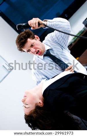 Flustrated businessman brutally attacking businesswomen at office, angry.