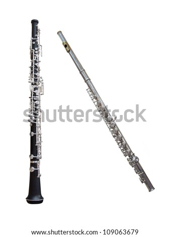 flute and clarinet under the white background