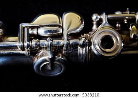 Flute detail- music background. Classic music concert concept