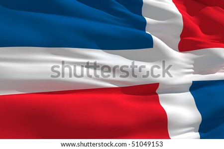 Fluttering flag od Dominican Republic on the wind