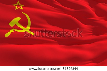 Fluttering flag of Soviet Union on the wind