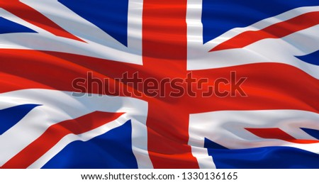 Fluttering silk flag of United Kingdom. Union Jack in the wind, colorful background #1330136165