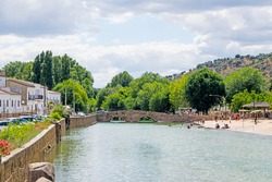Fluvial beach in the town of San Nicolas del Puerto, North Seville Mountain, Andalusia, Spain