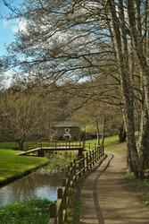 Fluvial walk of the Rato river while in Lugo, Galicia, in spring