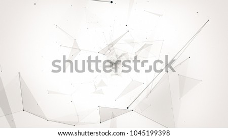 fly during network connections between nodes - dots, illustration flight in geometric abstraction with dots lines and triangles #1045199398