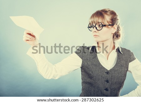 Fly fear metaphor, aerophobia concept. Business woman holding airplane in hand instagram photo