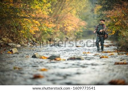 Fly fisherman fly fishing on a splendid mountain river