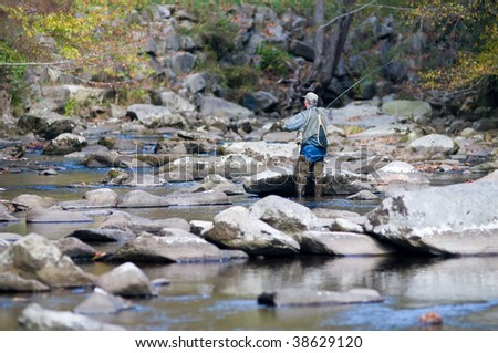 Fly fishing in the Little River of the Great Smoky Mountains National Park