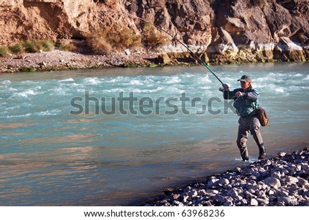 Fly-fishing on mountain river