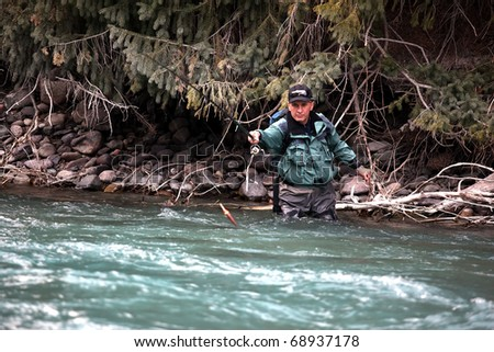 Fly fishing on mountain river