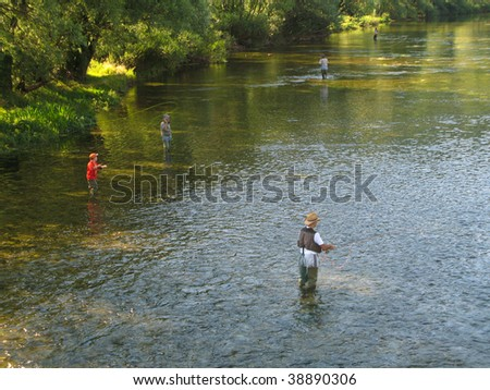 Fly fishing on Ribnik river, near Banja Luka, Republika Srpska, Bosnia