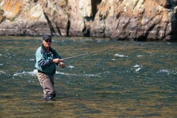 Fly fishing on river Houd in Mongolia